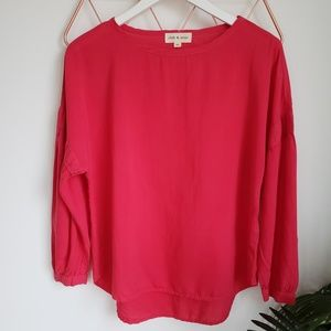 Anthropologie, Cloth & Stone Red Tencel Blouse, XS